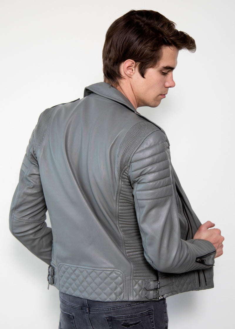 Mens Quilted Gray Smooth Leather Jacket