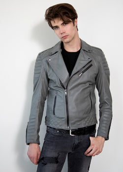 Mens Smooth Gray Quilted Leather Motorcycle Jacket