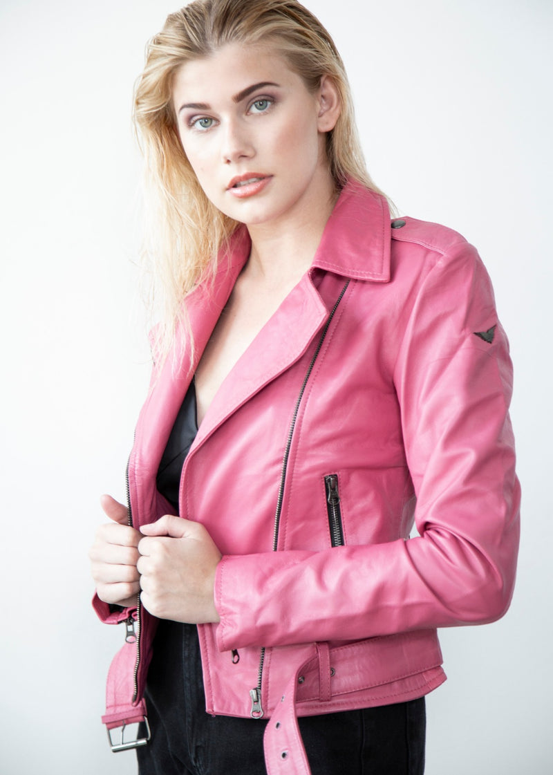 Womens Barbie Doll Pink Vegan Leather Jacket
