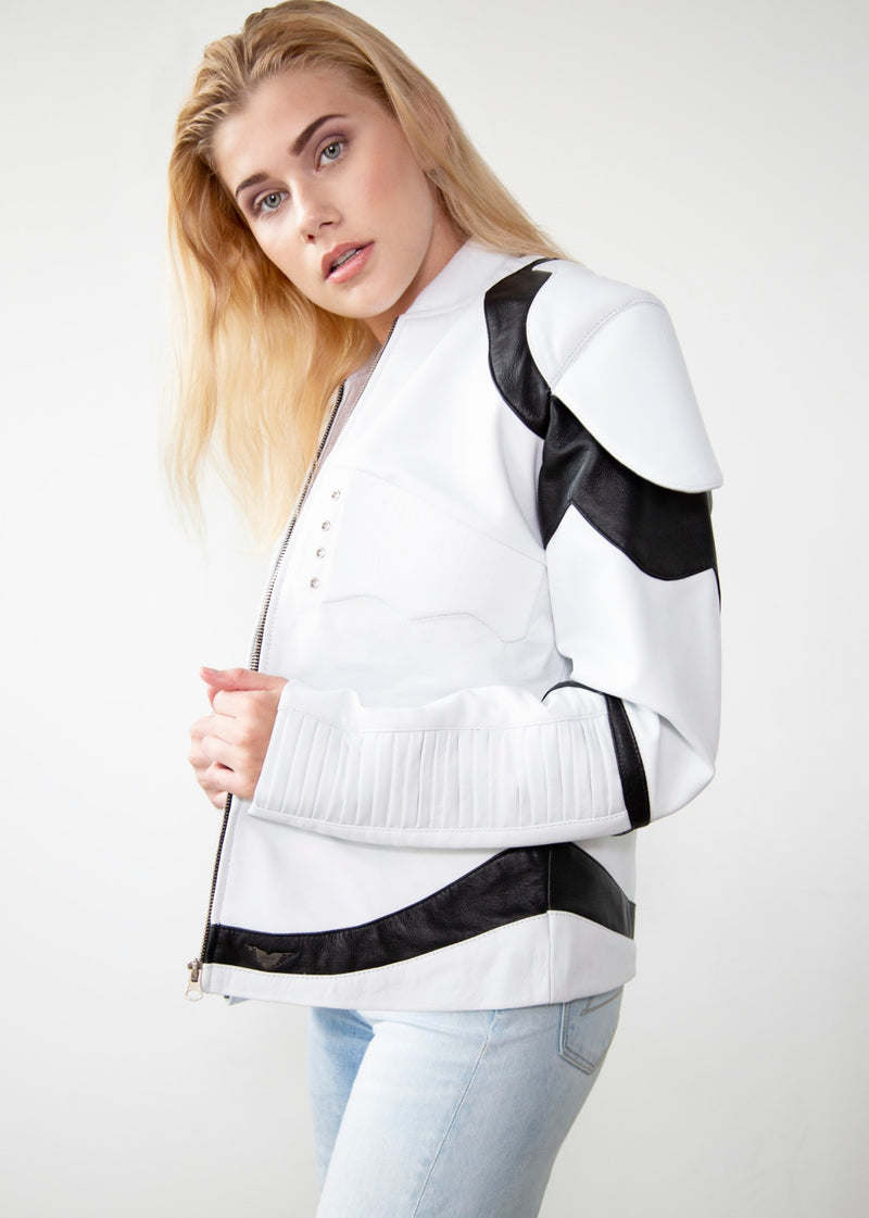 Womens Star Wars Storm Trooper White Armor Leather Jacket