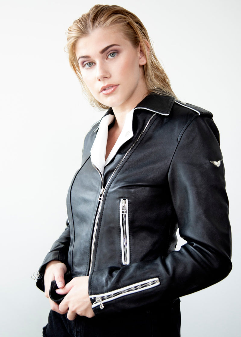 Womens Black & White Contrast Leather Jacket