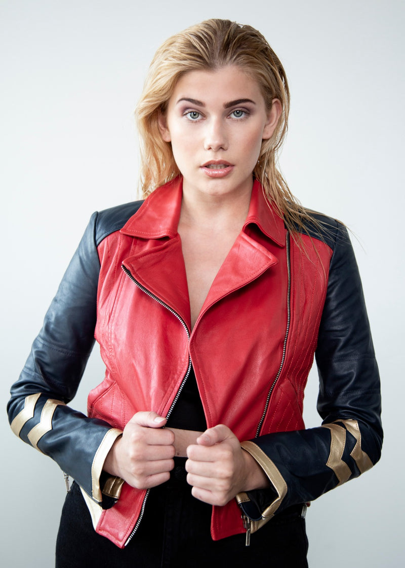 Womens Amazonian Warrior Princess Red Leather Jacket