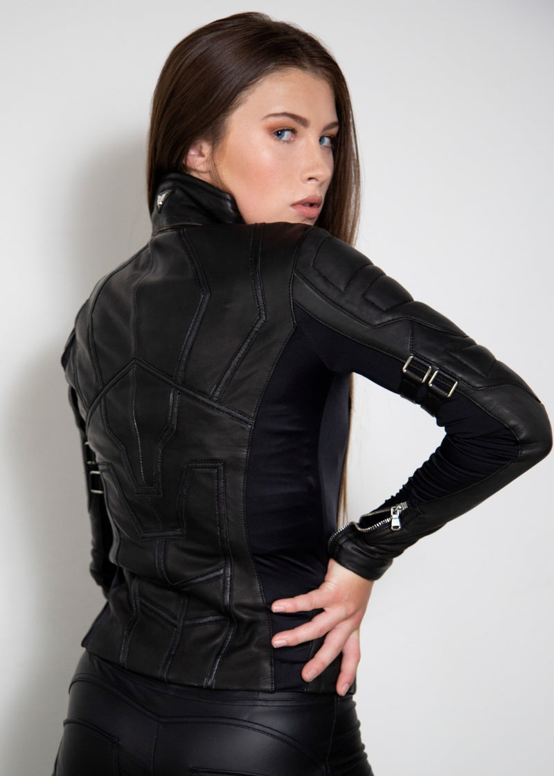 Black Widow Spy Assassin Leather Jacket Back
