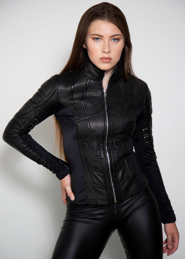 Womens Natasha Romanoff Black Widow Spy Leather Jacket