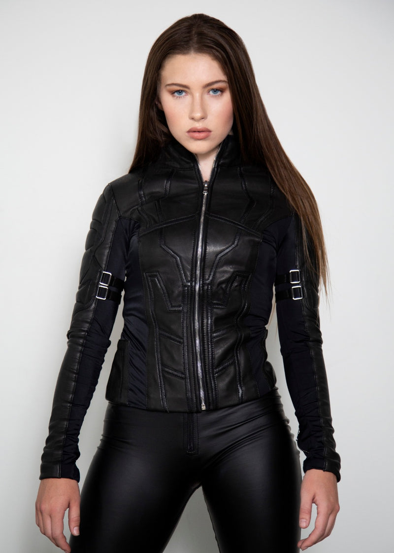 Womens Black Widow Secret Agent Leather Jacket