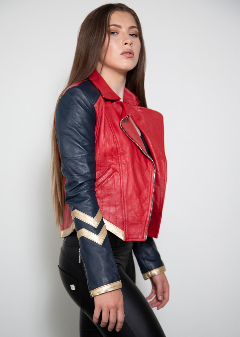 Red Amazonian Warrior Leather Jacket