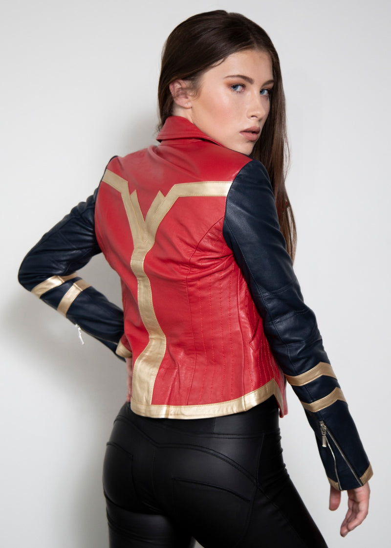 Amazonian Warrior Goddess Red Leather Jacket