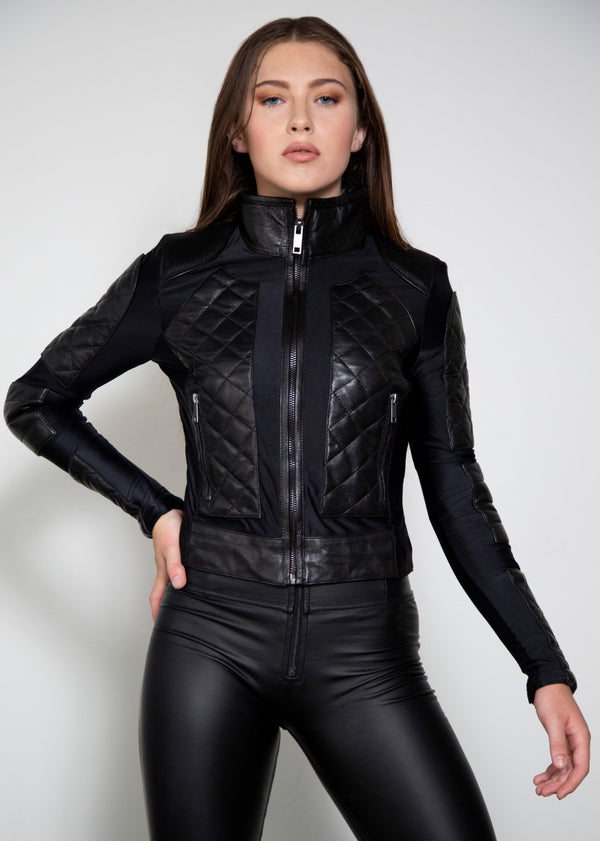 Womens Corset Black Quilted Motorcycle Jacket