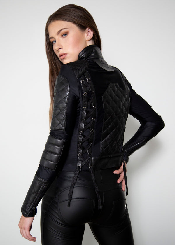Westworld Corset Black Quilted Evan Rachel Wood Moto Leather Jacket
