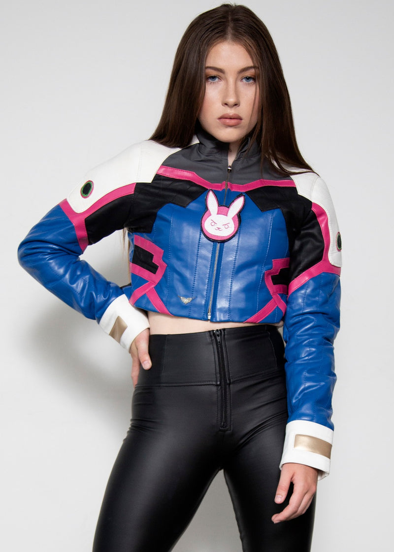 Womens DVA Overwatch Crop Top Leather Jacket