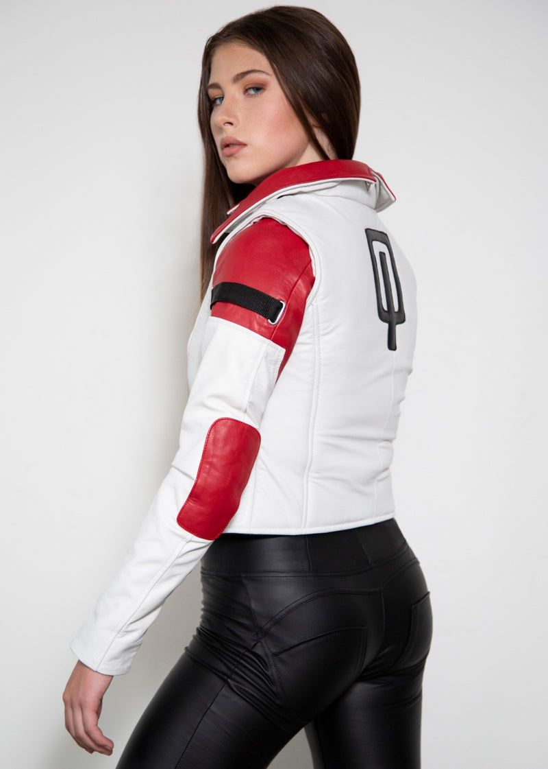 Mass Effect Aria T'loak White Red Leather Jacket
