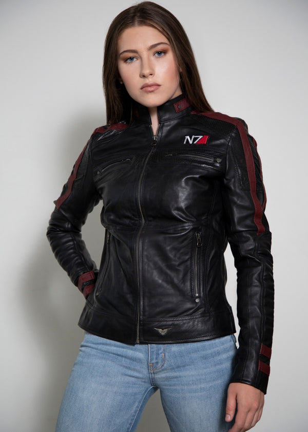 Mass Effect Commander Shepard N7 Black Leather Jacket
