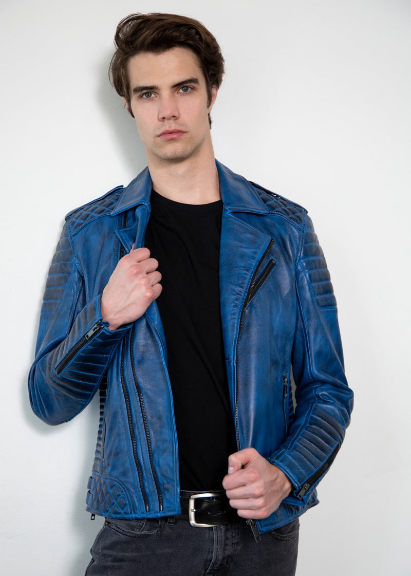 Blue Quilted Moto Leather Jacket