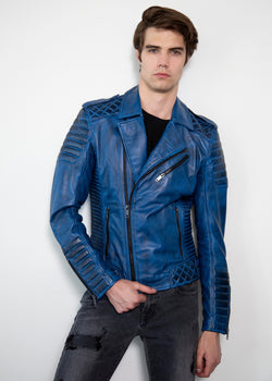 Mens Quilted Charcoal Blue Motorcycle Leather Jacket