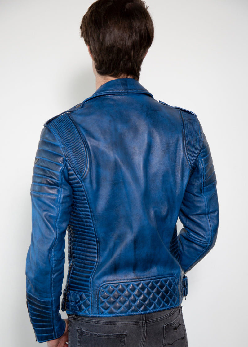 Mens Wethered Blur Quilted Moto Leather Jacket Back