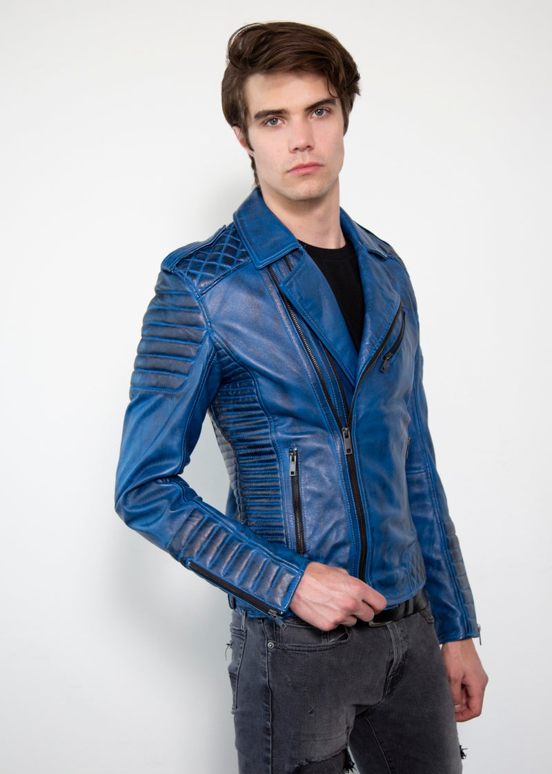 Mens Quilted Blue Leather Motorcycle Jacket