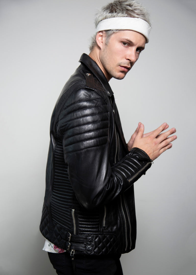 Mens Quilted Black Leather Moto Jacket
