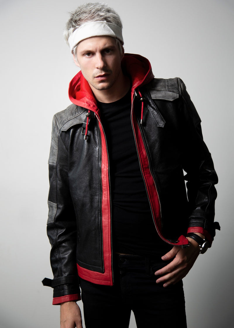 Mens Red Hood Arkham Knight Hoodie Leather Jacket