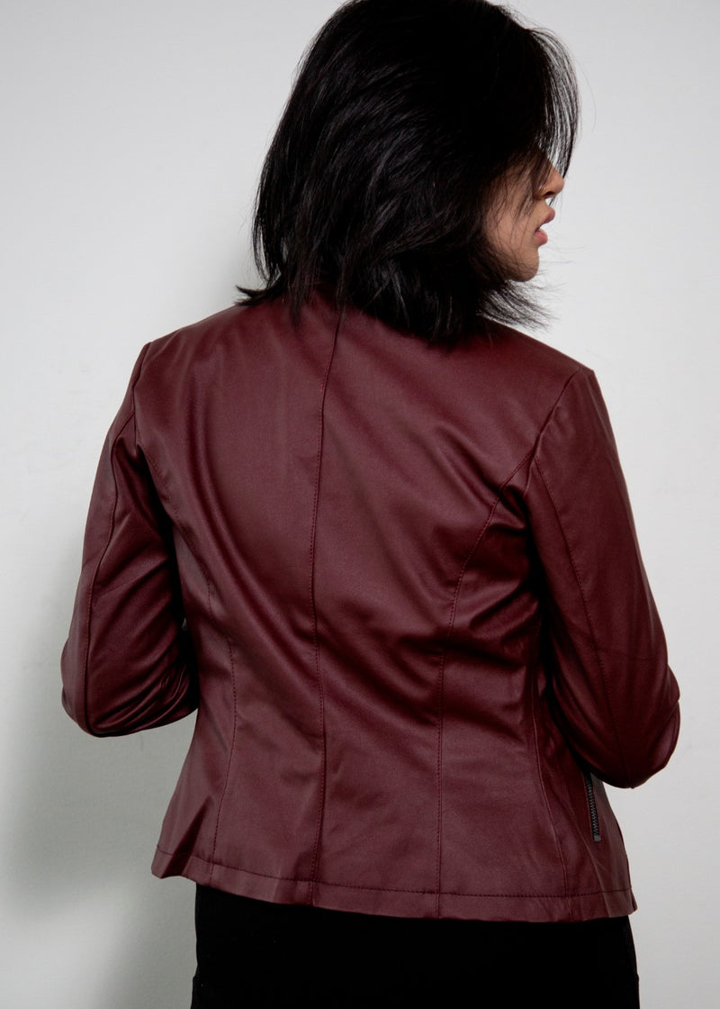 Resident Evil Claire Redfield Red Moto Vegan Leather Jacket