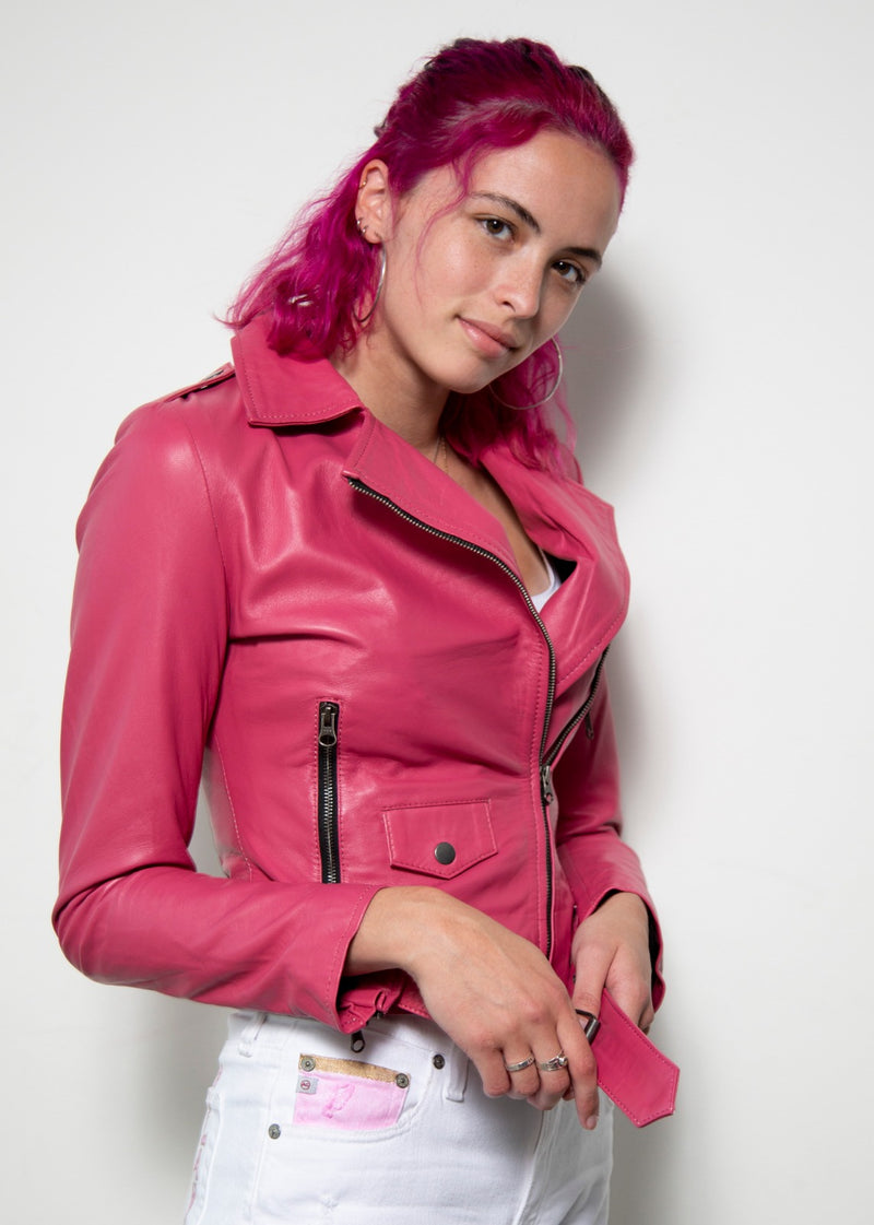 Barbie Doll Dream Pink Leather Jacket for women