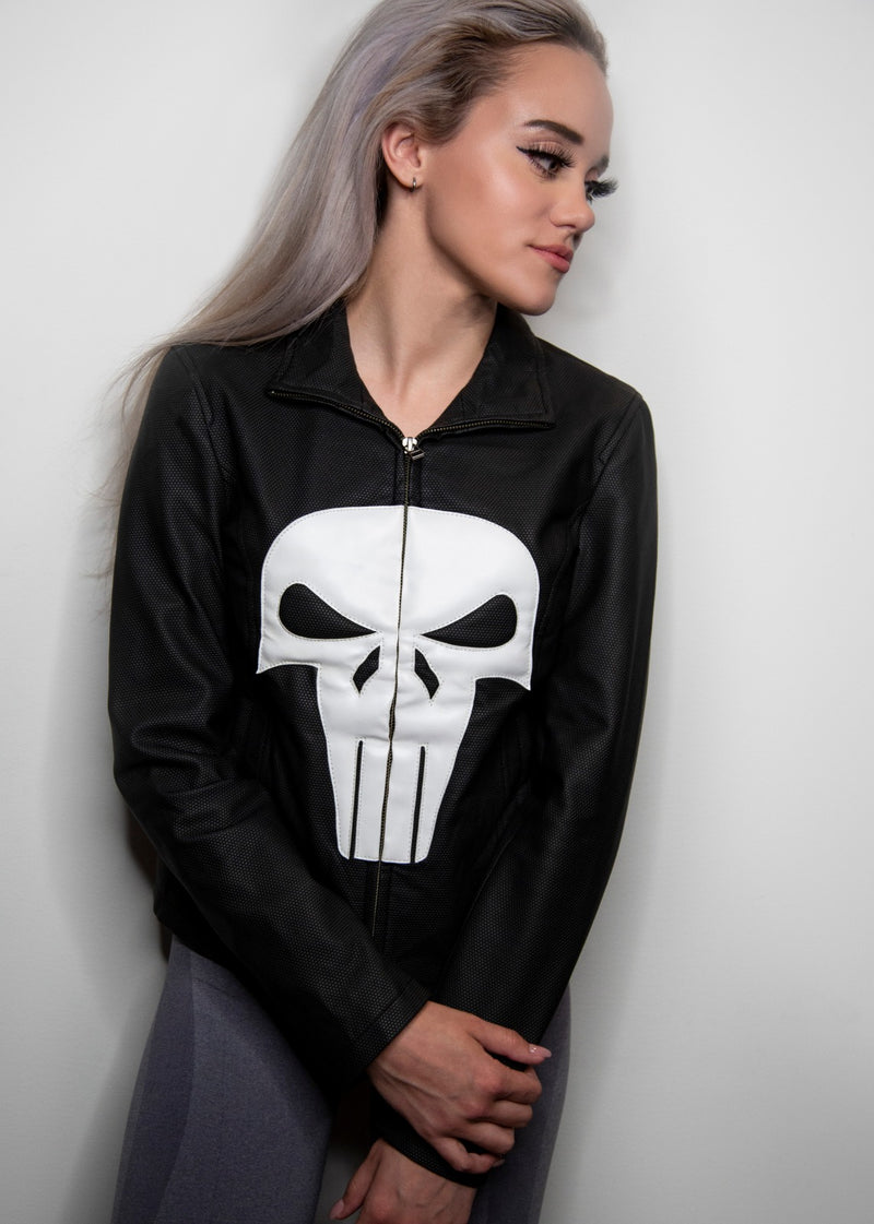 Womens Punisher Frank Castle Skull Neoprene Jacket
