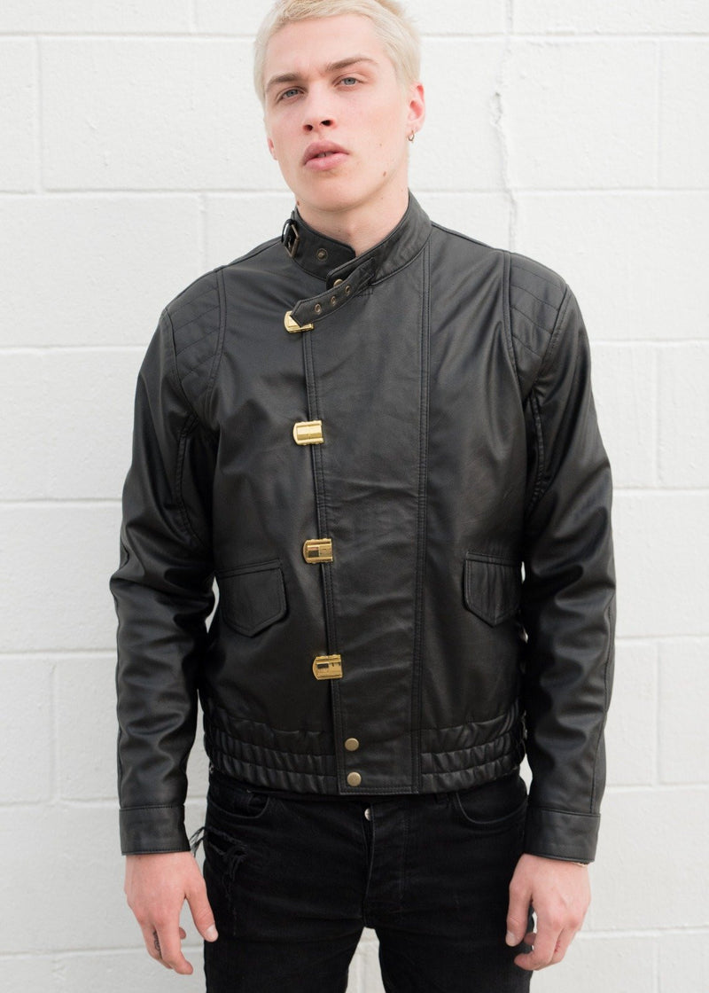 Mens Akira Kaneda Black Leather Jacket Front Closed