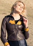 Women's DC Comics Batgirl Leather Jacket Yellow Bat Embossed