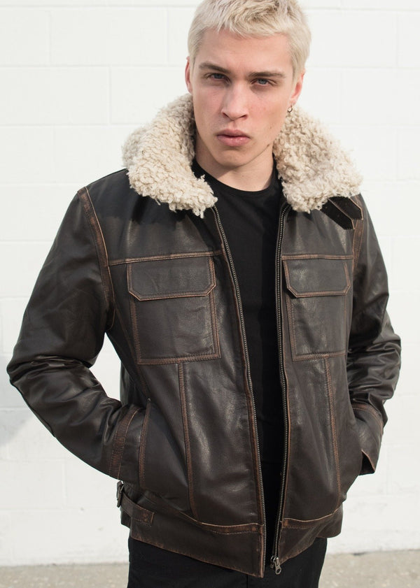 Luca Designs Men's Shearling Fashion Leather Jacket