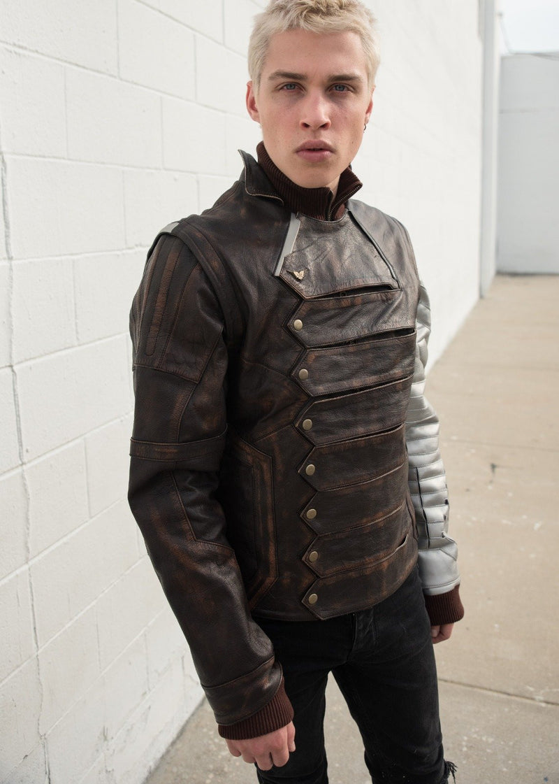 Mens Bucky Barnes Winter Soldier Armored Leather Jacket