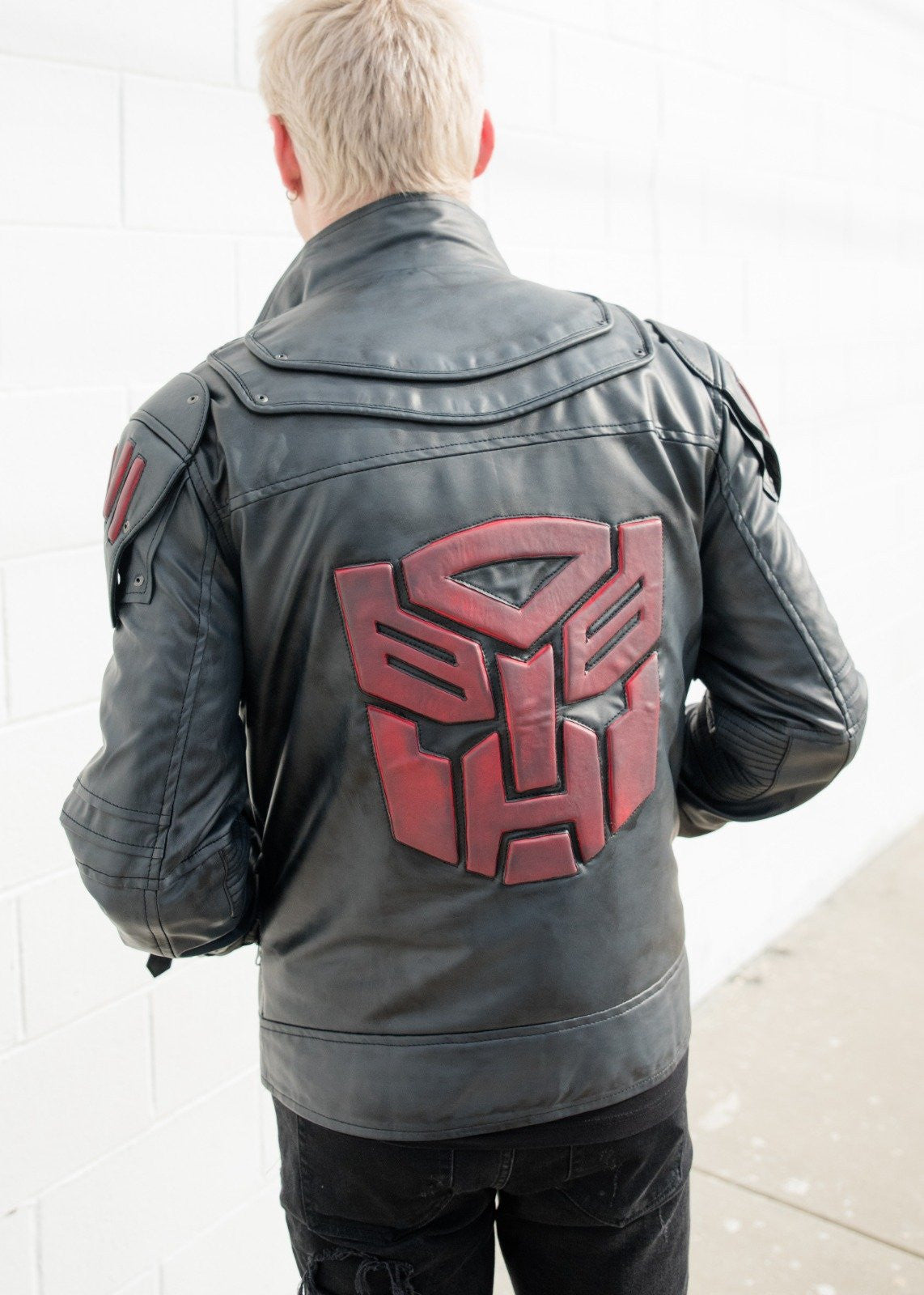 Mens Transformers Autobot Logo Shield Leather Jacket Black Armor