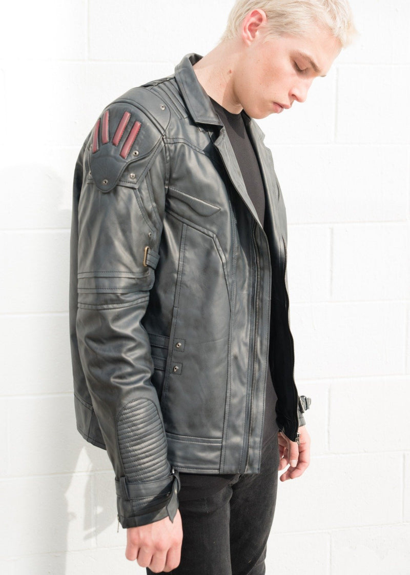 Mens Transformers Autobot Shield Leather Jacket Black Armor