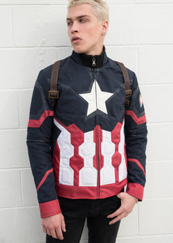 Mens Captain America Civil War Leather Jacket
