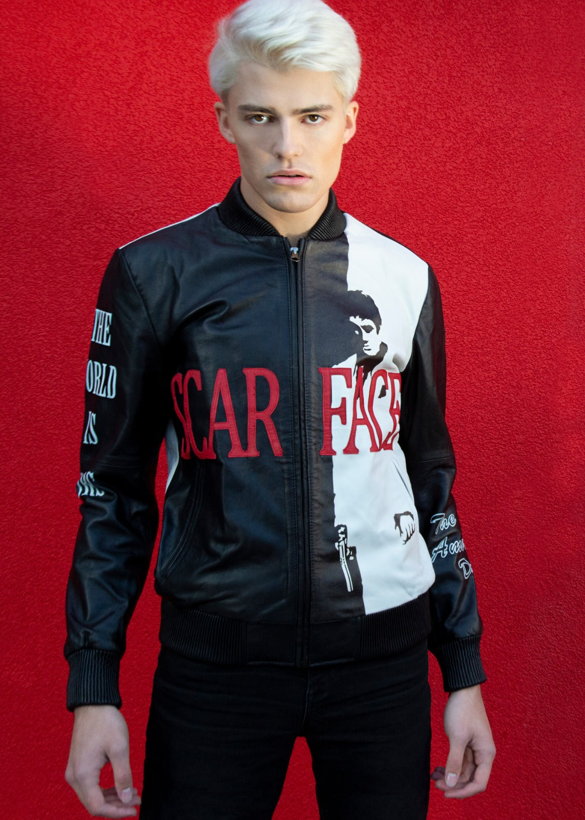 Mens Scarface Leather Jacket Black & Red