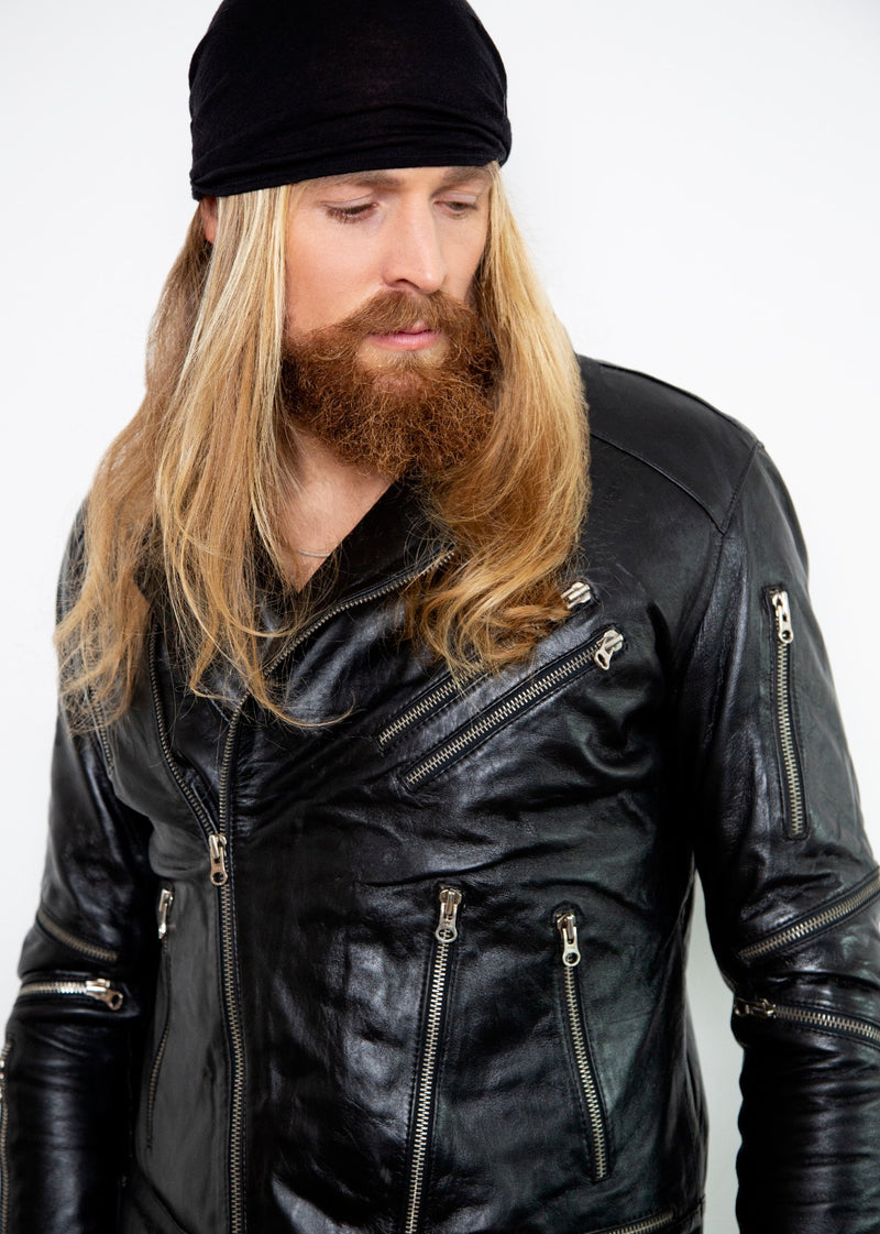 Mens All Over Zippers Black Motorcycle Leather Jacket