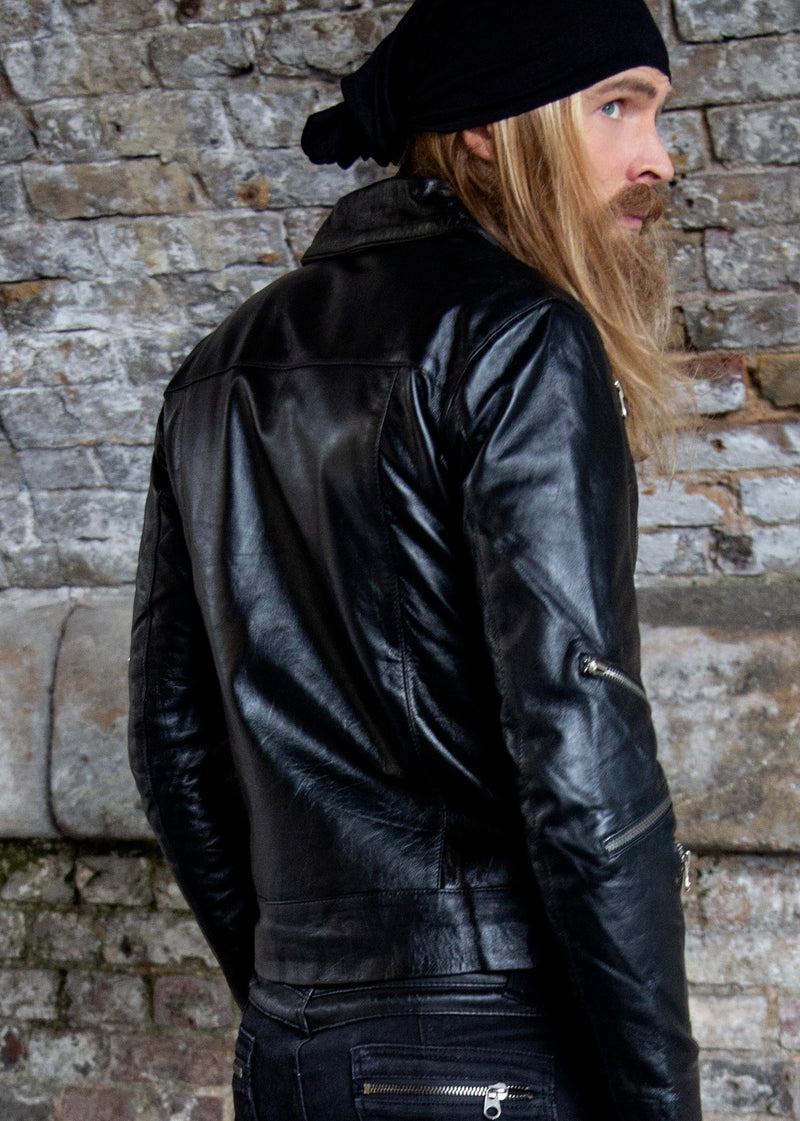 Mens All Over Zippers Black Leather Jacket