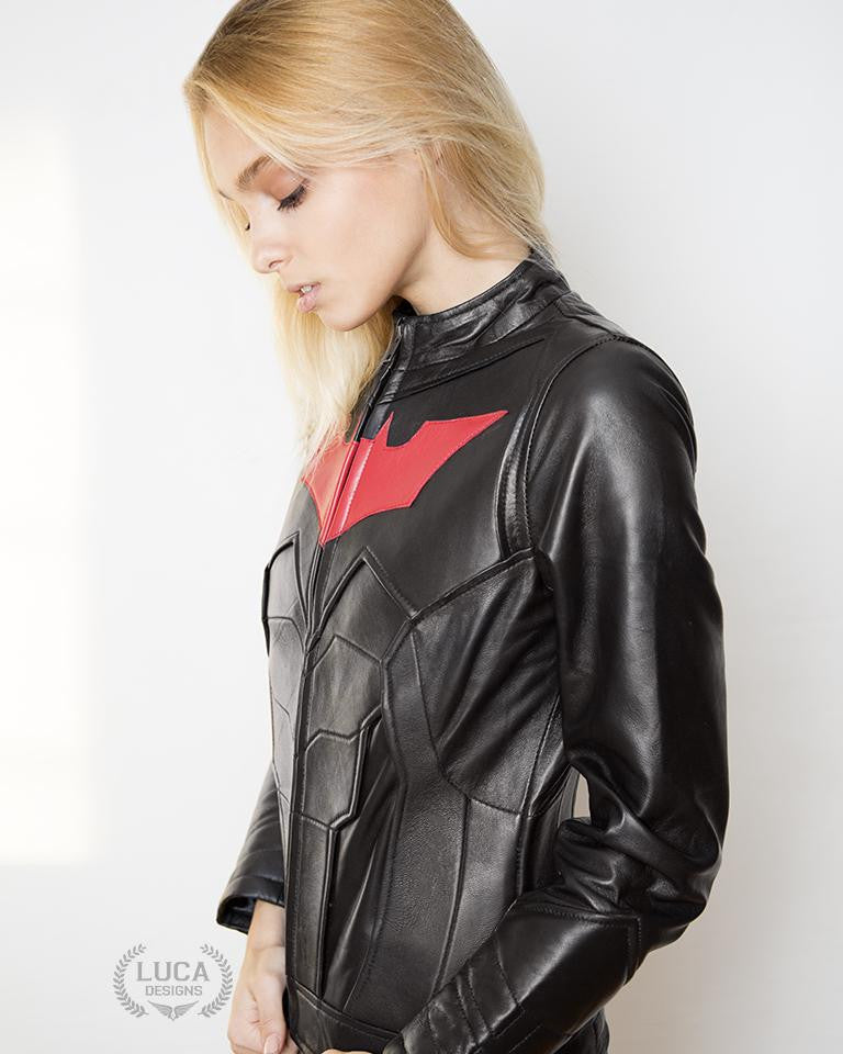 Womens Batman Beyond Leather Jacket Red Bat Embossed
