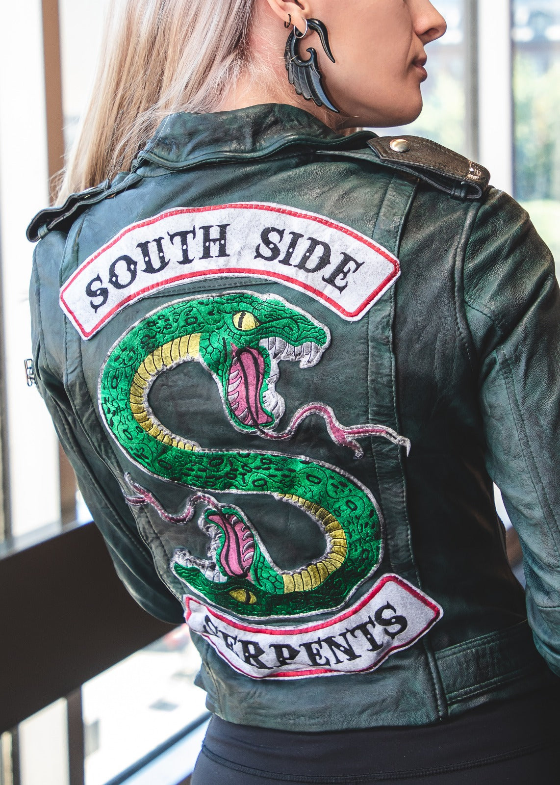 Womens Serpent Black Napa Leather Motorcycle Jacket