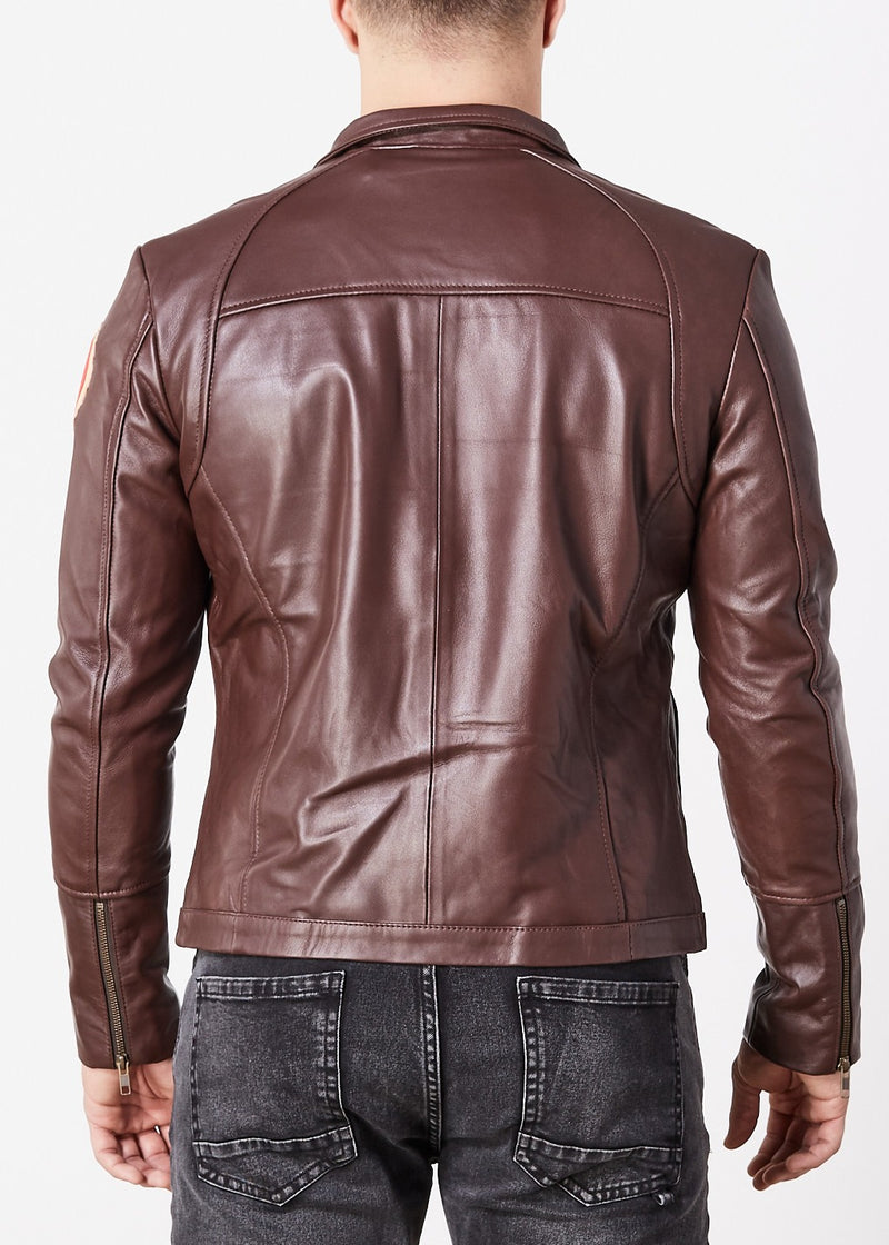Poe Dameron Star Wars Rebel Alliance Leather Jacket Replica Brown