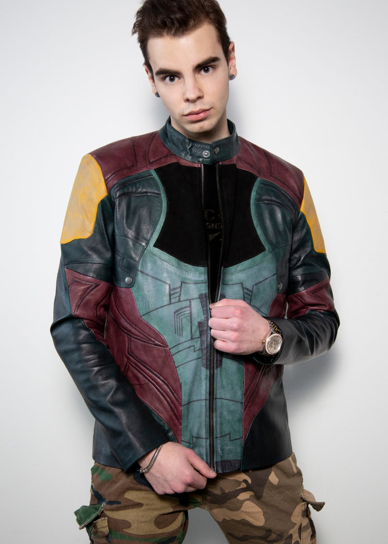 Black quilted multi color motorcycle boba fett jacket