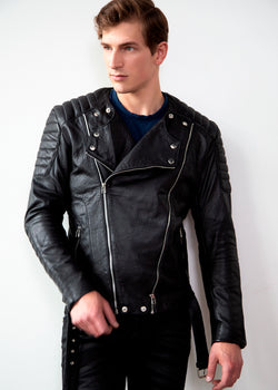 Mens Alternative Legacy SAM Quilted Leather Motorcycle Jacket Black