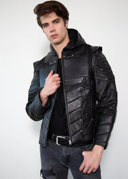 Mens Black Green Arrow Limited Edition Leather Jacket