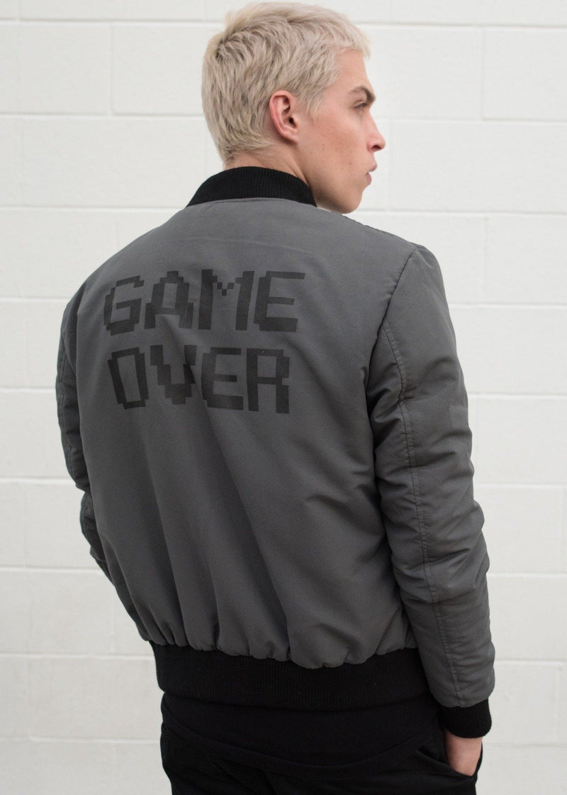 Mens Nintendo Gameboy Jacket Gray Game Over Text Bomber