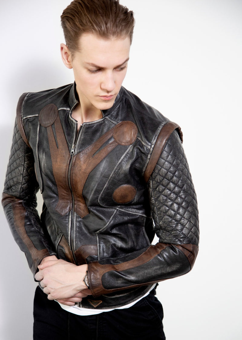 Mens Thor ragnarok Vintage Quilted Leather Motorcycle Jacket
