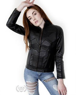 Womens Batman Beyond Leather Jacket Black Bat Embossed