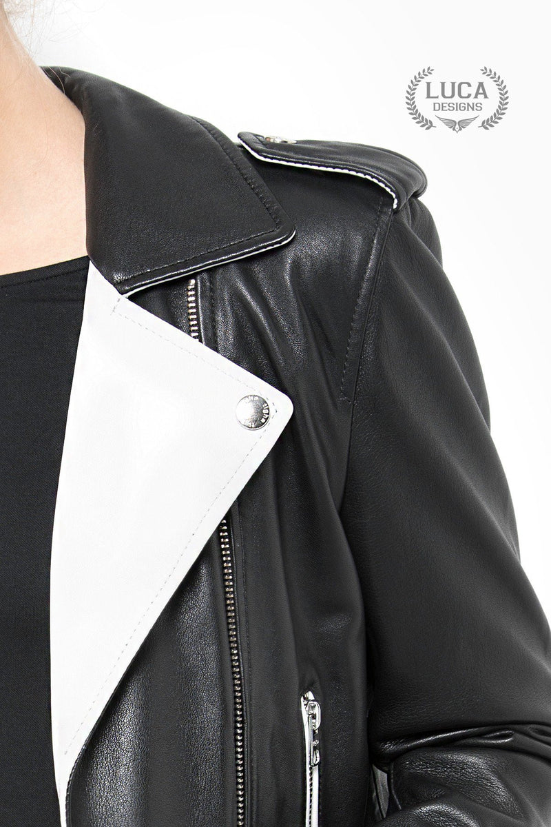 Womens Fashion Leather Jacket Black White Contrast
