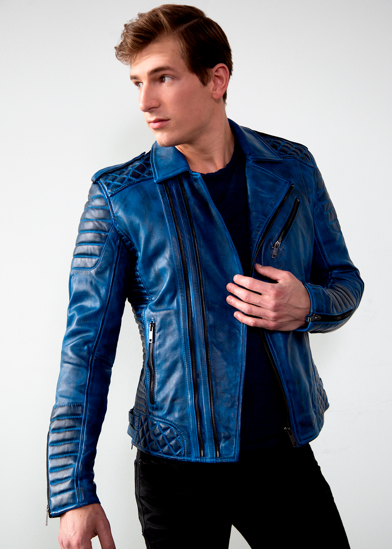 Mens Quilted biker Leather Motorcycle Jacket Burnt Blue