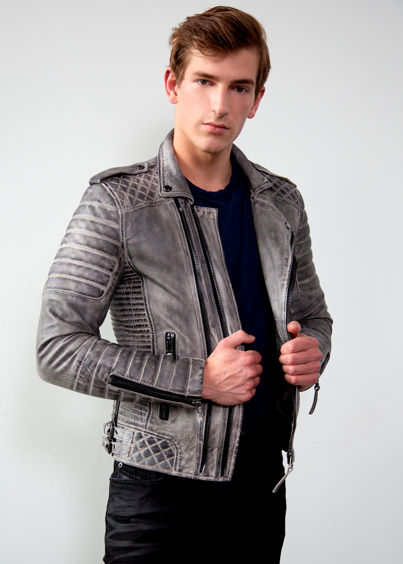 Mens Charcoal Gray Quilted Leather Motorcycle Jacket  Media