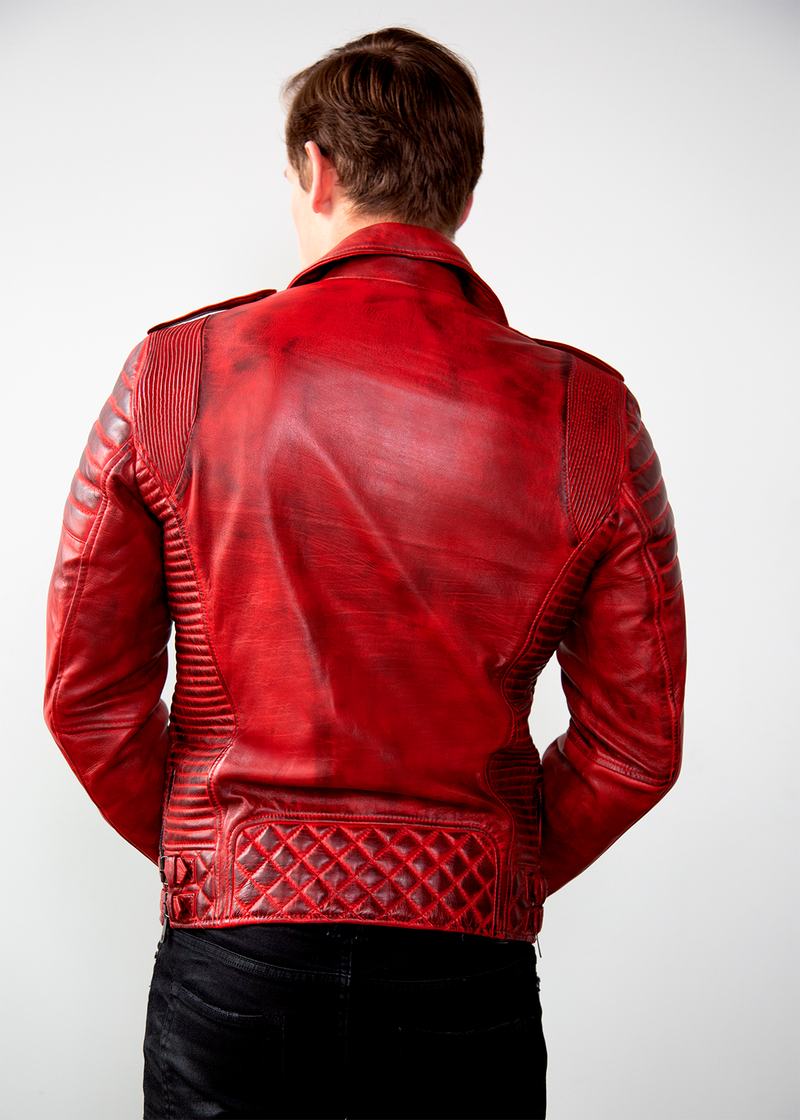 Mens Burnt Red Quilted Biker Leather Motorcycle Jacket Back