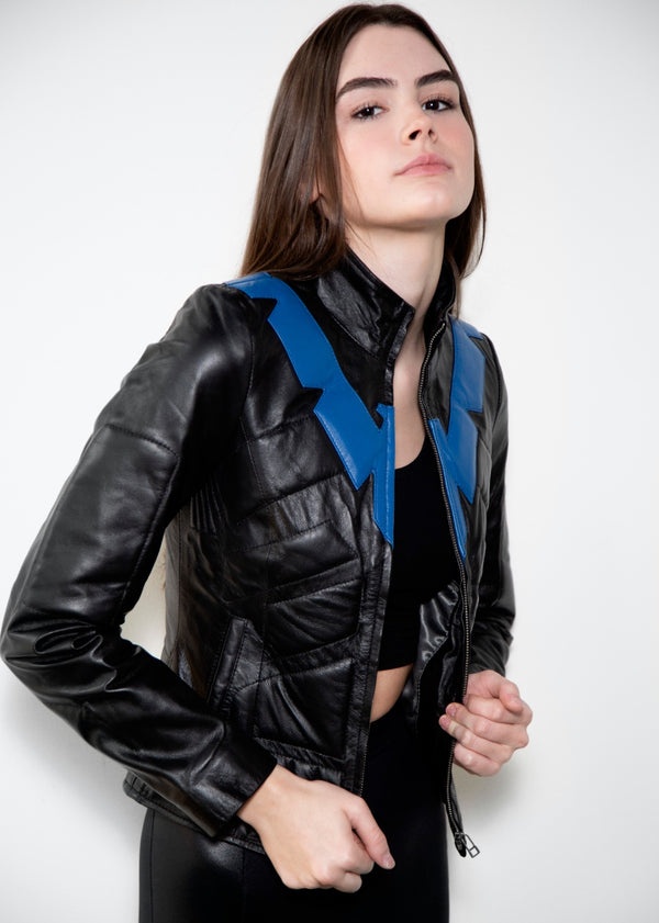 Womens Nightwing Grayson Black Leather Jacket Batman