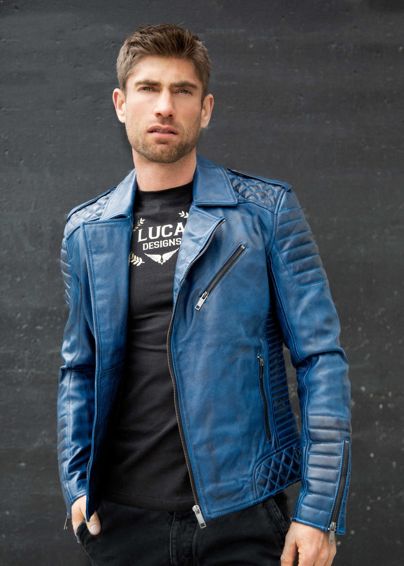 Mens Quilted biker Leather Motorcycle Jacket Blue